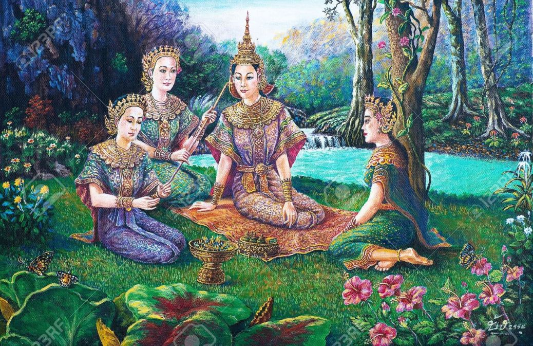12836784-Oil-painting-on-canvas-Thai-drama-dance-Stock-Photo